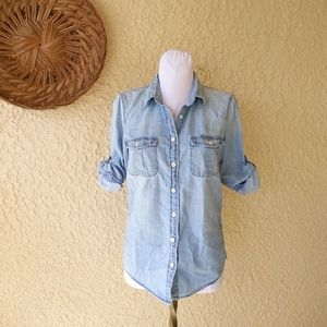 J. Crew chambray roll sleeve button down sz 0